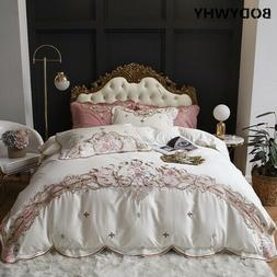 100S Egyptian Cotton Embroidery Bedding Set Quilt Sheet/Line