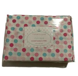 Hillcrest Fine Linens Baby Dot Pink White Cotton Sateen TWIN
