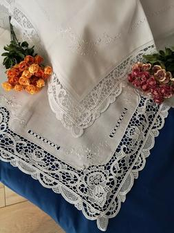 pure linen sheets with hand embroidery of Burano in Venice