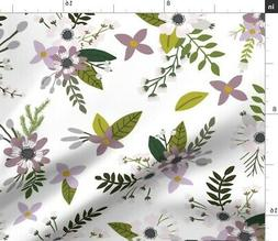 Purple Floral Wildflower Crib Sheet Fabric Printed by Spoonf