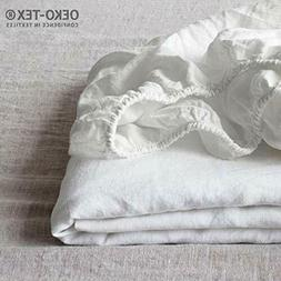 Simple&Opulence 100% Linen Fitted Sheet with 14 Inch Deep Po