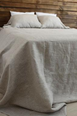 White or Natural 100% Linen Bedding Set - 2 Sheets and 2 Pil